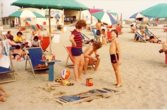 On the beach at Camp Darby, Italy -- 1978