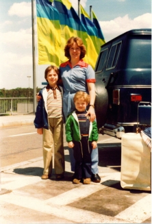 Natalie with our two youngest boys at Frankfurt am Main -- 1978