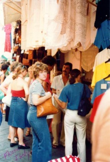 Natalie shopping in Florence, Italy -- 1978